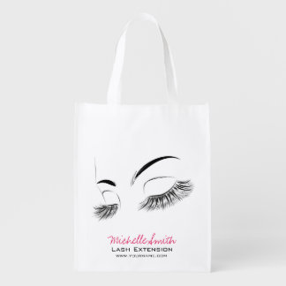 Beautiful long eyelashes Lash Extension Reusable Grocery Bag