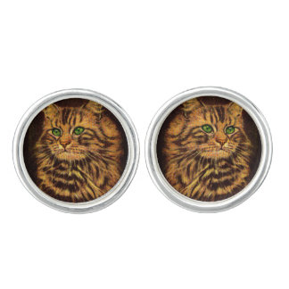 beautiful long-haired tabby cat cufflinks