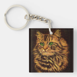 beautiful long-haired tabby cat key ring