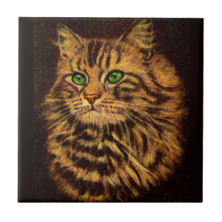 beautiful long-haired tabby cat tile