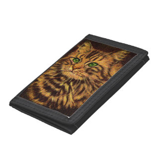 beautiful long-haired tabby cat trifold wallet