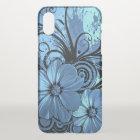 beautiful love blue flowers swirl art iPhone x case