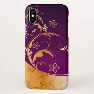 beautiful love purple gold flowers swirl art iPhone x case