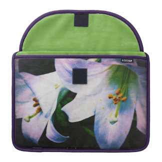 Beautiful Macbook case white green & lilac lily MacBook Pro Sleeves