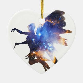 Beautiful Magical Space Fairy Ceramic Heart Decoration