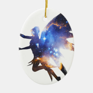 Beautiful Magical Space Fairy Ceramic Oval Decoration