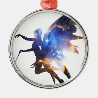 Beautiful Magical Space Fairy Silver-Colored Round Decoration