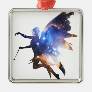 Beautiful Magical Space Fairy Silver-Colored Square Decoration