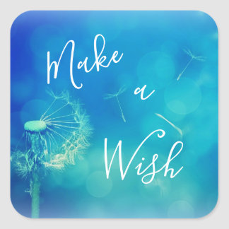 Beautiful Make a Wish Lucky Dandelion Blue Sticker