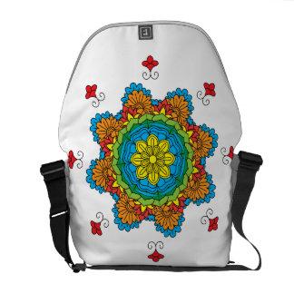 Beautiful mandala desing flower design indian vect messenger bag