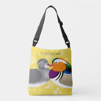 Beautiful Mandarin Ducks on Yellow Background Crossbody Bag