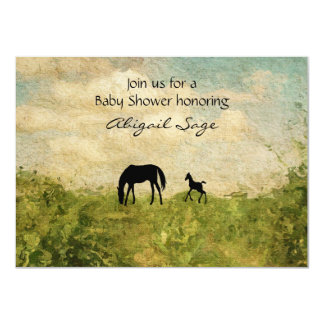 """Beautiful Mare and Foal Horse Baby Shower Invite 4.5"""" X 6.25"""" Invitation Card"""