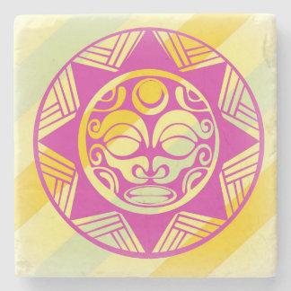 Beautiful Mask of Joy on ancient stone Coaster. Stone Coaster