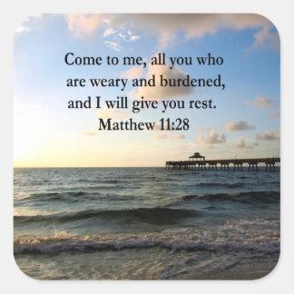 BEAUTIFUL MATTHEW 11:28 SCRIPTURE VERSE SQUARE STICKER