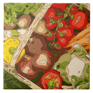 Beautiful Medley of Organic Fruits and Vegetables Ceramic Tiles