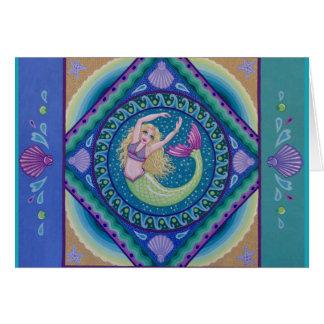 Beautiful mermaid swimming in the sea. card
