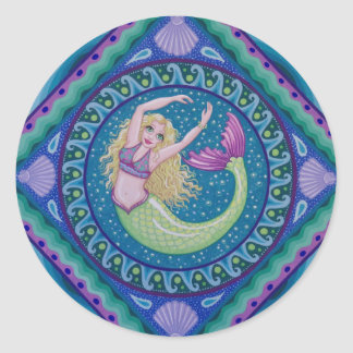 Beautiful mermaid swimming in the sea. classic round sticker