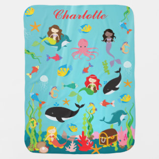 Beautiful Mermaids & Sea Life Custom Name Baby Blanket