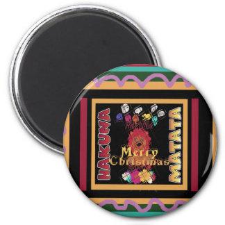 Beautiful Merry Christmas Hakuna Matata Latest Art 6 Cm Round Magnet