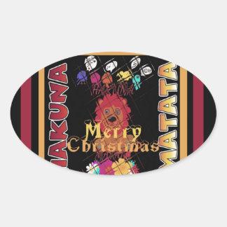 Beautiful Merry Christmas Hakuna Matata Latest Art Oval Sticker