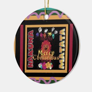 Beautiful Merry Christmas Hakuna Matata Latest Art Round Ceramic Decoration