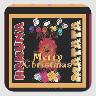 Beautiful Merry Christmas Hakuna Matata Latest Art Square Sticker