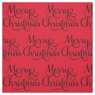 Beautiful Merry Christmas Script Text Fabric