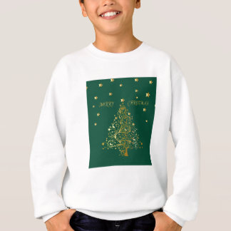 Beautiful metallic gold Christmas tree on green Sweatshirt