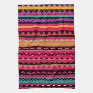 Beautiful Mexican Aztec Colorful Pattern Tea Towel
