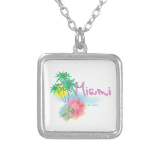 Beautiful Miami Florida Silver Plated Necklace