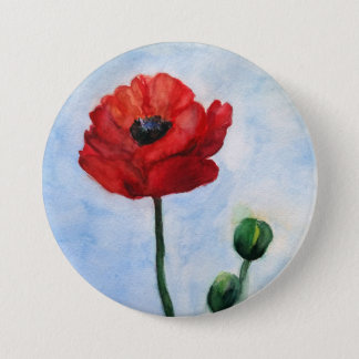 Beautiful Mind Red Poppy watercolor art 7.5 Cm Round Badge