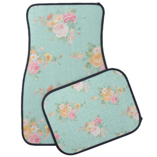 beautiful, mint,shabby chic, country chic, floral, car mat