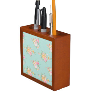 beautiful, mint,shabby chic, country chic, floral, desk organiser