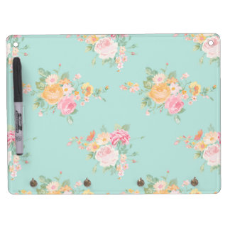beautiful, mint,shabby chic, country chic, floral, dry erase board with key ring holder