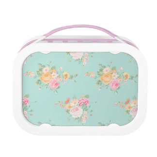 beautiful, mint,shabby chic, country chic, floral, lunch box
