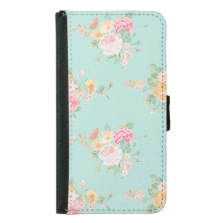 beautiful, mint,shabby chic, country chic, floral, samsung galaxy s5 wallet case