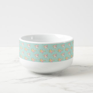 beautiful, mint,shabby chic, country chic, floral, soup mug