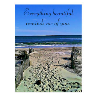 Beautiful Missing you Beach Photo Postcard