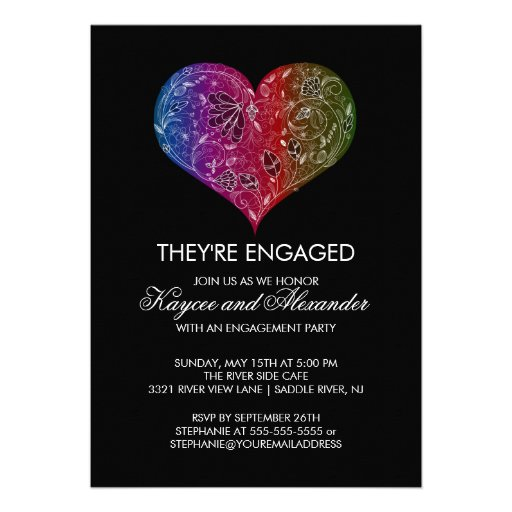 Beautiful Modern Heart Engagement Invitations