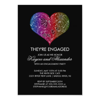 Beautiful Modern Heart Engagement Invitations