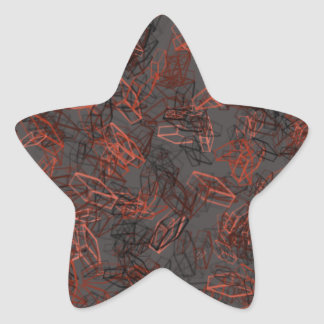 Beautiful, Modern Red and Black Square Pattern Star Sticker