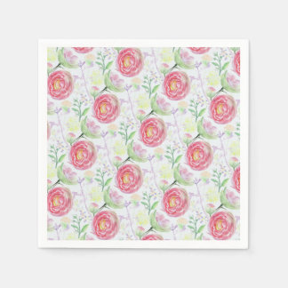 Beautiful Modern Watercolor Floral Pattern Paper Napkins