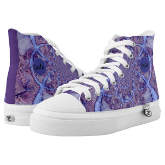 Beautiful monogrammed purple kaleidoscope high tops