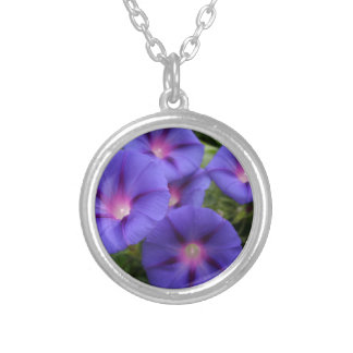 Beautiful Morning Glories in Bloom Silver Plated Necklace