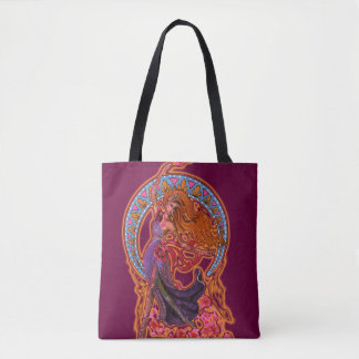 Beautiful morning goddes fairy flies with moon tote bag