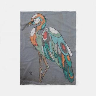 Beautiful mosaic crane fleece blanket
