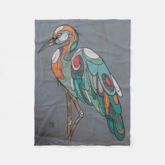 Beautiful mosiac crane fleece blanket