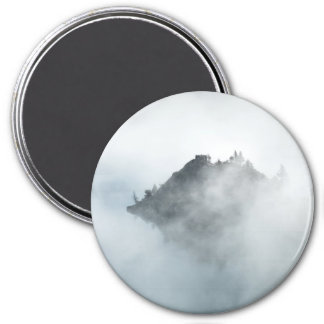 Beautiful mountain top in the clouds photo print 7.5 cm round magnet