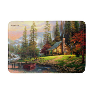 Beautiful Mountain Wooden Chalet On River Shore Bath Mat