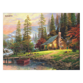 Beautiful Mountain Wooden Chalet On River Shore Tablecloth